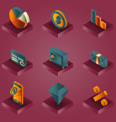 finance color gradient isometric icons vector image