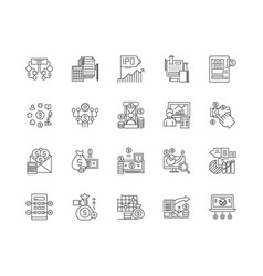 financial data line icons signs set vector image