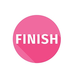 Finish button icon flat long shadow vector image