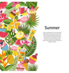 flat cute summer elements cocktails vector image