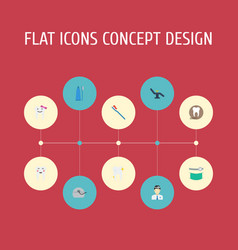 Flat icons radiology cleaned hygiene and other vector