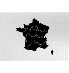 france map - high detailed black map with vector image