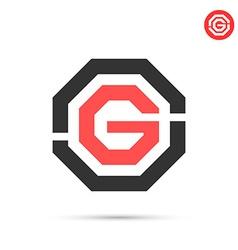 G letter in hexagon figure vector