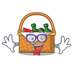 geek picnic basket character cartoon vector image