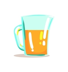 Glass jug with fresh squeezed orange juice drink vector