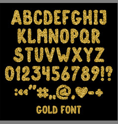 Gold glitter english alphabet punctuation marks vector