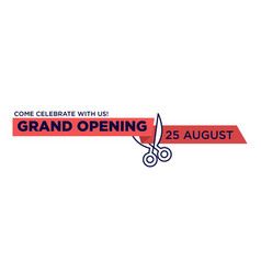 Grand opening red ribbon cut with scissors cutting vector