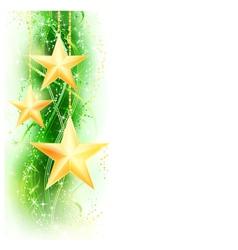 Green golden star border vector