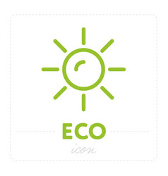 green icon with sun on white vector image
