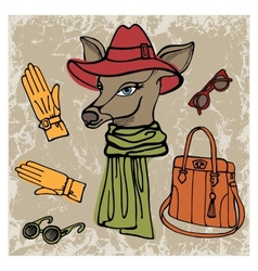 Hand drawn deer hipster girl with accessories vector image