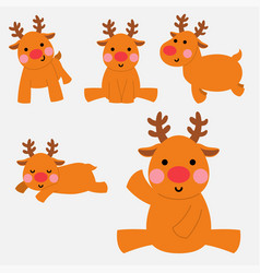 happy reindeer in action set vector image