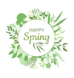 Happy Spring green card design with text in round vector image vector image