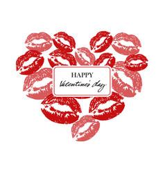 Heart with lipsticks prints heart full of kisses vector