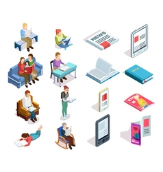 Isometirc Reading Icon Set vector image
