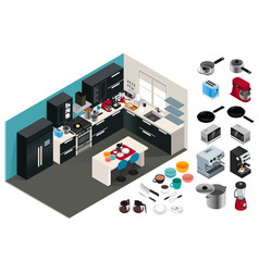 Isometric kitchen appliances vector
