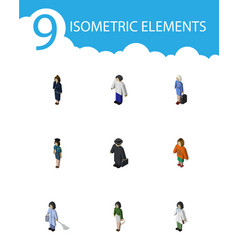 Isometric person set of pedagogue detective vector
