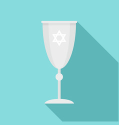 Jewish silver cup icon flat style vector