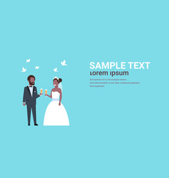 just married african american couple standing vector image