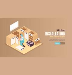 Kitchen repairs isometric banner vector