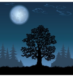 Landscape with oak tree and moon vector