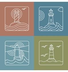 lighthouse logo design templates linear vector image