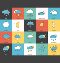 line icons set of weater collection concept vector image