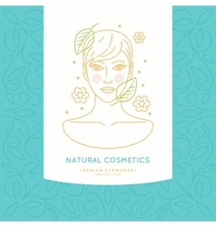Linear label for natural cosmetics vector image