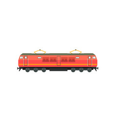 Modern red electric railway locomotive vector