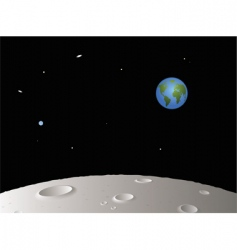 moon with distant earth vector image vector image