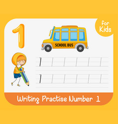 Number one tracing worksheets vector