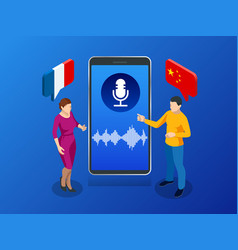Online voice translator and learning languages vector
