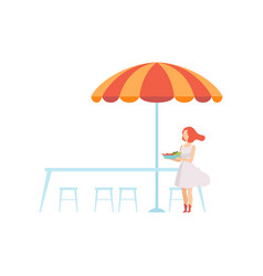 outdoor table with umbrella street cafe vector image