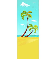 palm tree on beach - vertical banner design vector image