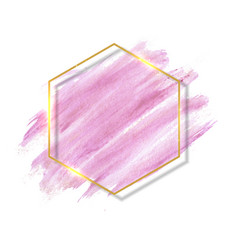 pastel rose and pink brush paint strokes and gold vector image
