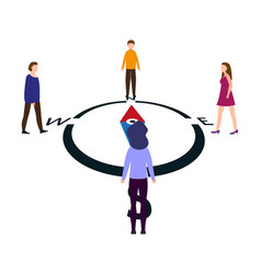 People come to the compass from different sides vector