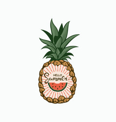 Pineapple fruit emblem vector