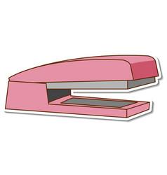 pink stapler sticker on white background vector image