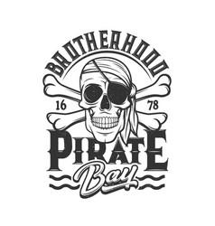Pirate skull t-shirt print skeleton in eye patch vector