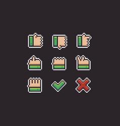 Pixel art gestures vector