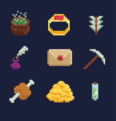 pixel art icons for fantasy vector image