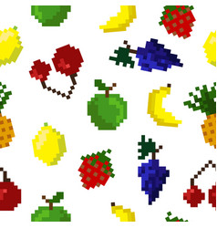 pixel art seamless fruits pattern vector image