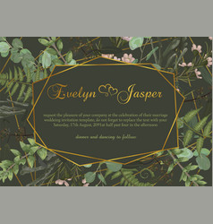 Polygonal gold frame with leaves of a forest fern vector