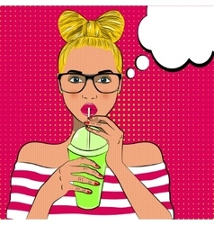 Pop art cute woman drinks cocktail vector image