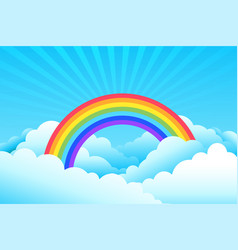rainbow covered in clouds and sky background vector image