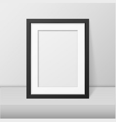 Realistic blank black picture frame closeup vector
