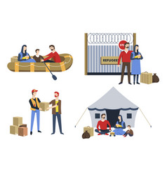 refugees family illegal immigrants political vector image