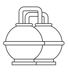 round oil tanks icon outline style vector image