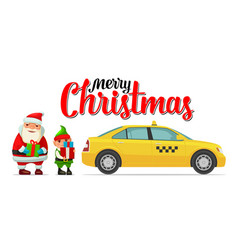 santa claus elf and taxi with shadow and boxes vector image