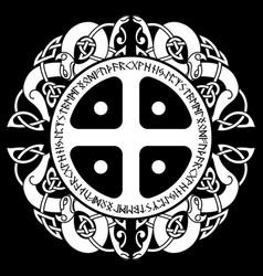 Scandinavian viking design sun cross old norse vector