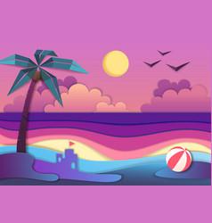 sea beach cut out paper art style design vector image
